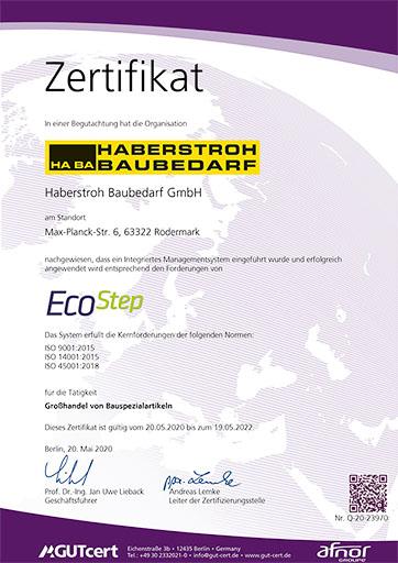 Zertifikat EcoStep Bild